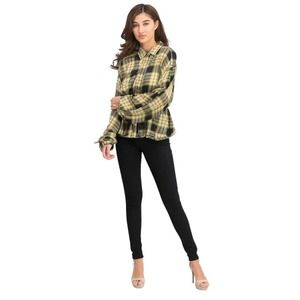 Free People Pacific Dawn Ruched Plaid Shirt